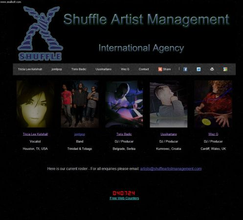 Shuffle Artist Management Website Screenshot